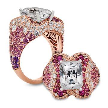 Peter Storm 14k Rose Gold Halo Diamond Engagement Ring