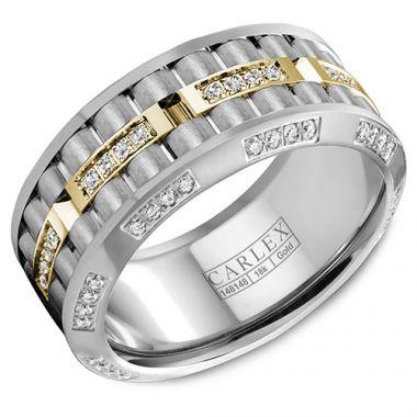 Carlex G3 18k Two Tone Gold Men's Diamond Wedding Band