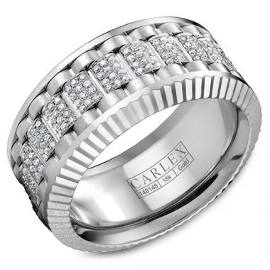 Carlex G3 18k White Gold Men's Diamond Wedding Band