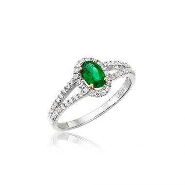 Park Designs Emerald Oval and Diamond Split Shank Ring