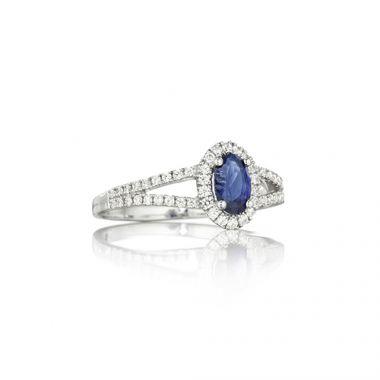 Park Designs Sapphire Oval and Diamond Split Shank Ring