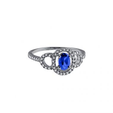 Park Designs Sapphire and Diamond Classic Ring