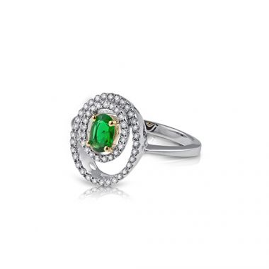 Park Designs Emerald Offset Oval and Diamond Ring