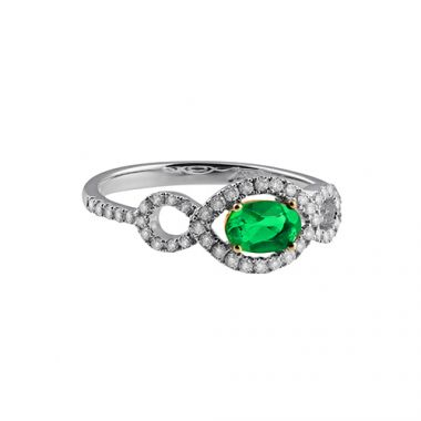 Park Designs Emerald and Diamond Infinity Ring