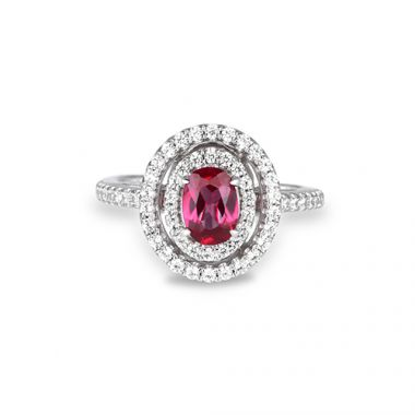 Park Designs Ruby and Diamond Double Halo Ring