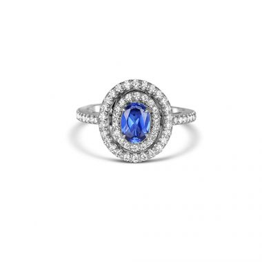 Park Designs Sapphire and Diamond Double Halo Ring