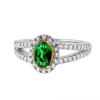 Park Designs Large Emerald and Diamond Split Shank Halo Ring