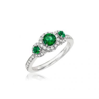 Park Designs Emerald and Diamond Three Stone Ring