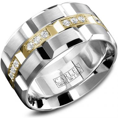 Carlex G1 18k Two Tone Gold Men's Diamond Wedding Band
