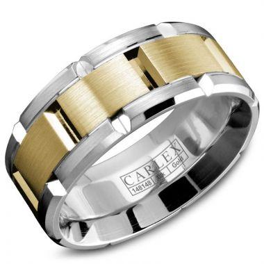 Carlex G1 18k Two Tone Gold Men's Wedding Band
