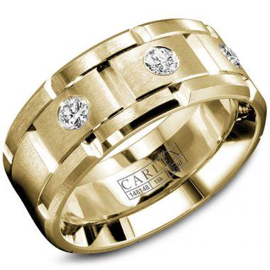 Carlex G1 18k Yellow Gold Men's Diamond Wedding Band