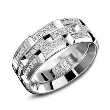 Carlex G1 18k White Gold Women's Diamond Wedding Band