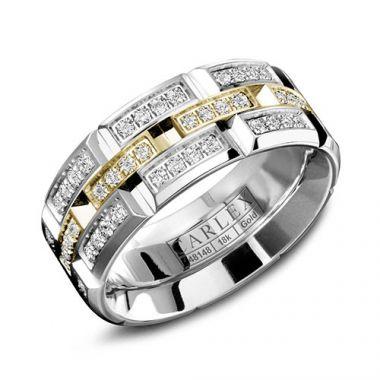 Carlex G1 18k Two Tone Gold Women's Diamond Wedding Band