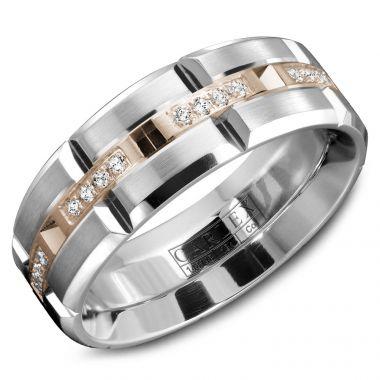 Carlex Sport 18k Two Tone Gold Men's Diamond Wedding Band