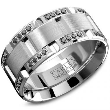 Carlex G1 18k White Gold Men's Diamond Wedding Band