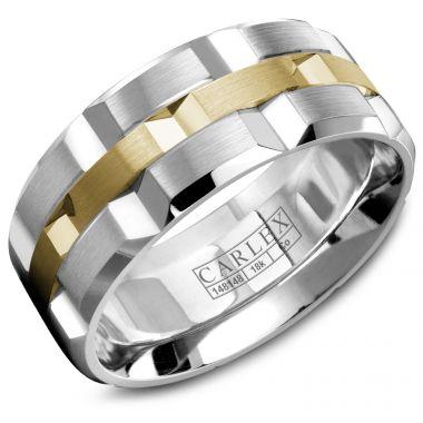 Carlex Sport 18k Two Tone Gold Men's Wedding Band