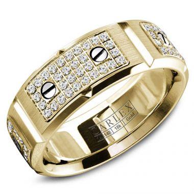 Carlex G2 18k Yellow Gold Men's Diamond Wedding Band