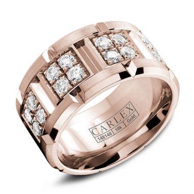 Carlex G1 18k Rose Gold Women's Diamond Wedding Band