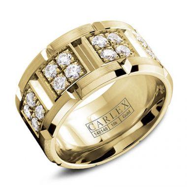 Carlex G1 18k Yellow Gold Women's Diamond Wedding Band