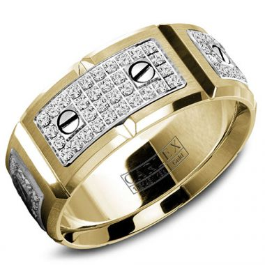 Carlex G2 18k Two Tone Gold Men's Diamond Wedding Band