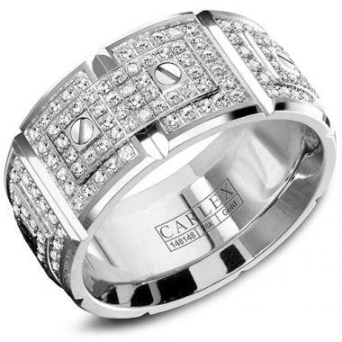Carlex G2 18k White Gold Men's Diamond Wedding Band