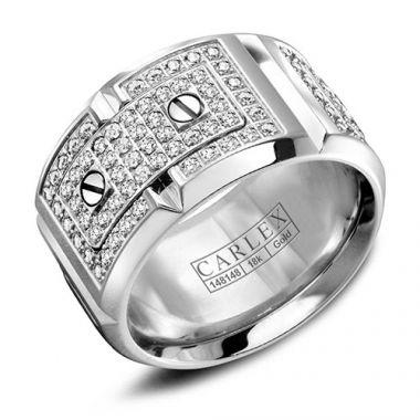 Carlex G2 18k White Gold Women's Diamond Wedding Band