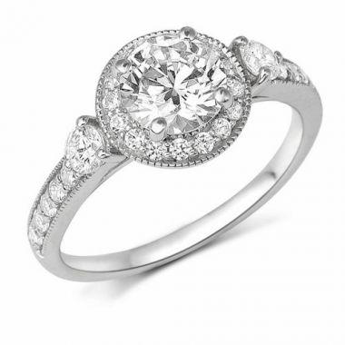 Park Designs 14k White Gold 3 Stone Halo Diamond Engagement Ring