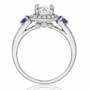 Park Designs 14k White Gold 3 Stone Halo Gemstone Diamond Engagement Ring