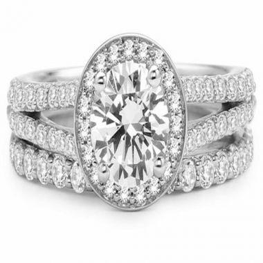 Park Designs 14k White Gold Halo Split Shank Diamond Engagement Ring