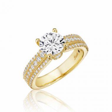 Park Designs 14k Yellow Gold Straight Gemstone Diamond Engagement Ring